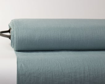 Pure 100% Linen Fabric Blue Green Medium Weight Pre-Washed Durable Dense Plain Solid Organic Textile Drape For Sewing Table Cloth By Yard