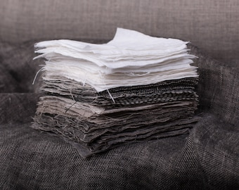 Linen fabrics samples, swatches set Not-dyed linen color, stark white, off-white, gray, black for medium weight