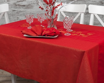 Linen red shimmer embroidered tablecloth