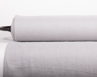Pure 100% Linen Fabric Light Gray Medium Weight Pre-Washed Durable Dense Plain Solid Organic Textile Drape For Sewing Table Cloth By Yard
