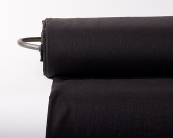 Pure 100% Linen Fabric Black Medium Weight Pre-Washed Durable Dense Plain Solid Organic Textile Drape For Sewing Table Cloth By Yard