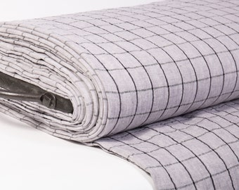 Extra Wide 2.35 m / 2.56 yd pure 100% Linen Fabric grey with black checks, medium weight, washed for covers, tablecloths, curtains, clothing