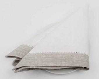 100 % LINEN NAPKINS SET Of 6 Grey with off-white borders Luxury napkins Wedding napkins  Rustic linen napkinsMedium-weigh linen napkins