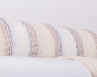 Pure 100% linen fabric Last piece 2.4 m / 2.6 yd Semi-sheer linen fabric, Striped soft Fluffy fabric