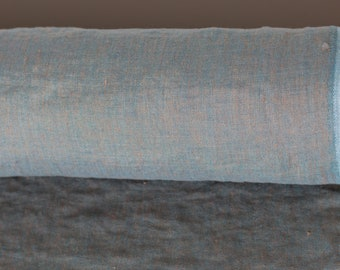 LINEN FABRIC 200GSM  Medium weight Chambray Gold and turqouise  100% pure linen fabric by meter washed an softened  Organic Linen Cloth