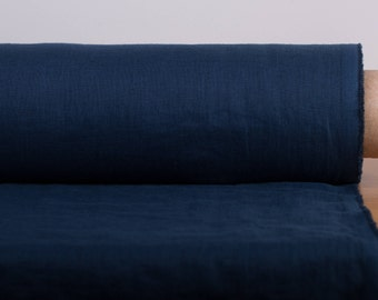 LINEN FABRIC lightweight 135gsm dark blue, midnight blue Washed pure 100% linen fabric Fashion fabric are All-Purpose for many your needs