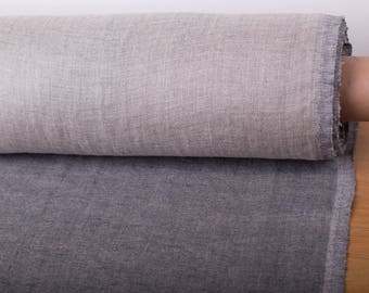 LINEN FABRIC 240GSM Double-sided Chambray Linen fabric Gray  and not dyed  Medium/Heavyweight washed 100% pure linen fabric by meter