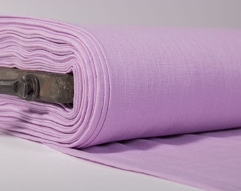 Pure 100% linen fabric in purple. Linen fabric of medium weight, washed to sew clothing, home textiles. Solid linen fabric by yards or meter