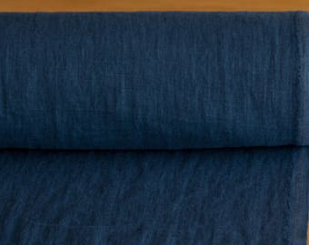 Pure 100% linen fabric 200gsm midnight blue, medium weight, wash and soften with organic softeners. For clothing,  table linen, curtains etc