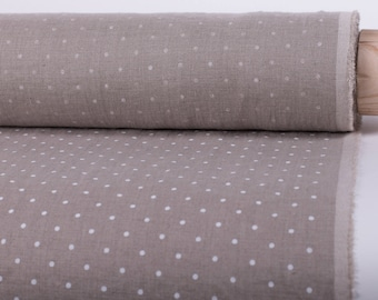 Pure 100% linen fabric 200gsm natural fabric in a white dots pattern, medium weight,wash and soften with organic softeners.