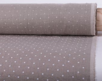 LINEN FABRIC 200gsm Not dyed linen with white polka dots 100% pure linen fabric by meter washed an softened  Organic Linen Cloth