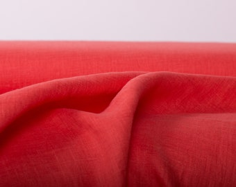 Pure 100% linen fabric 135gsm Light Weight  Orange Red Washed For blouses, light dress's, curtains, accessories