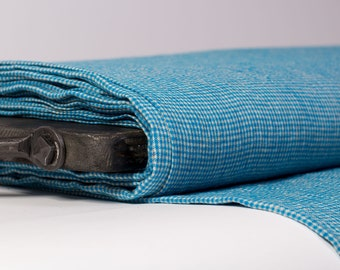 Pure 100% linen fabric 170gsm  small bright blue and light gray checked.  For  clothes,  tableware, curtains, kitchenware