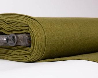 Pure 100% linen fabric 200gsm. Dark moss green. Dense, medium weight fabric  for apparel, kitchenware, bedding, etc.