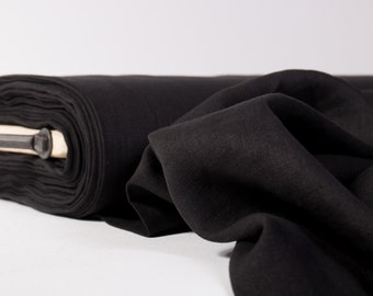 Linen fabric 135gsm Black lightweight pure 100% linen thin and light washed by metre Fashion Fabric