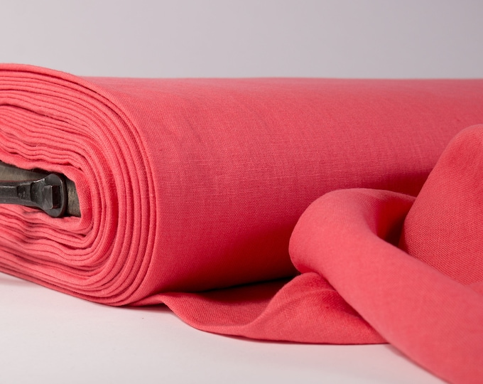 Featured listing image: Pure 100% linen fabric 200gsm rose pink, coral pink, medium weight, wash and soften with organic softeners, sell by the yards
