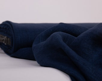Pure 100% linen fabric Dark Blue Chambray washed and softened, Linen fabric by meter, Organic Linen Cloth by the yard, blue linen fabric