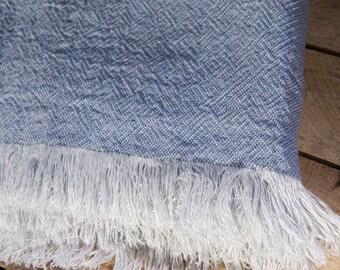 """LINEN PATTERNED BLANKET Light Blue Size 53"""" x 79""""  Bedspread, natural blanket, picnic blanket, linen rug, linen plaid"""