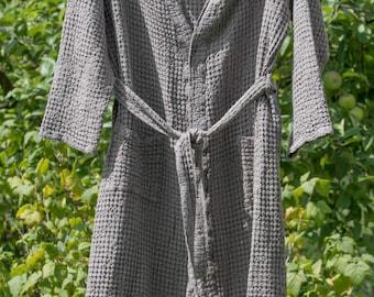 LINEN WOMEN's Bathrobe Smoky Quartz  linen and cotton women's bathrobe, high quality soft  robe, LinenBuy