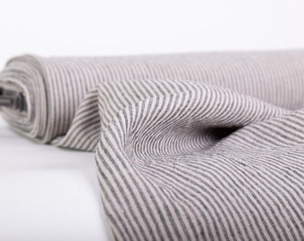 Pure 100% Linen Striped Fabric. Not-dyed Gray Striped Fabric Medium weight. Washed Dense Durable Non-transparent Organic Biological Decay