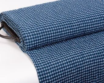 Pure 100% linen fabric double side blue and white checked, washed. Use for women and men clothing, accessories, curtains, blanket