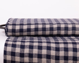 Linen fabric medium weight, Gingham check Navy blue, Pre-washed organic linen fabric for clothing, home textile, table ware