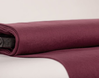 Pure 100% Linen Fabric Burgundy Medium Weight Pre-Washed Durable Dense Plain Solid Organic Textile Drape For Sewing Table Cloth By Yard