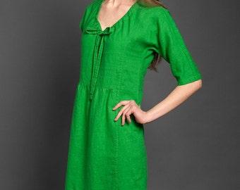 LINEN DRESS Casual Linen Dresses,  Midi  linen dress,  Linen summer dress,  Linen beach dress, Loose-fitting linen dress,