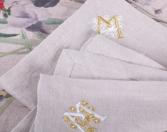 Linen Napkin with Initials Embroidery Custom Personalized Wedding Napkin Embroidery Handcrafted in Europe Monogram Embroidered Linen Napkins