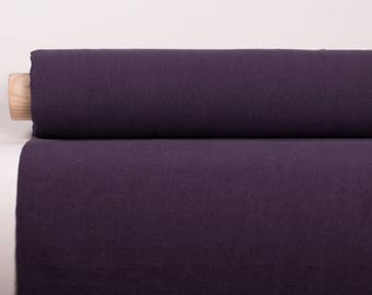 WIDE LINEN FABRIC very dark violet 210gsm medium weight  stonewashed softened 100% pure linen fabric