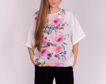 Linen Blouse, Floral linen blouse, Women's Oversize T-shirt, Loose Linen Shirt, Flax Linen Shirt, A classic Elk style