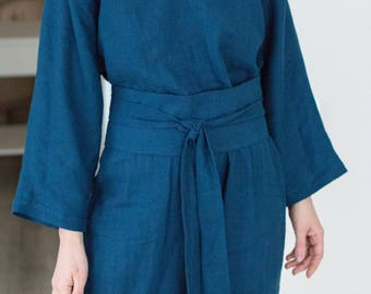 Linen Dress, Linen Kimono Dress with long sleeves, Obi Belt Dress, Summer linen dress with pockets, Street kimono style dress