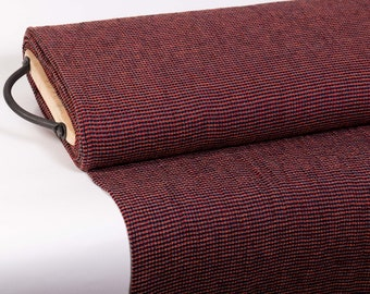 Pure 100% linen fabric 220gsm Chambray, Gold, red, dark blue small checked. Use for women and men clothing, accessories, curtains, blanket