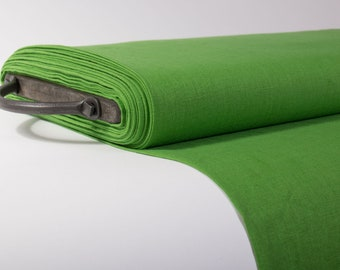 Pure Linen fabric, Green Pre-washed linen fabric by the yards, by the meters, Solid linen fabric for clothing, home textile, table ware