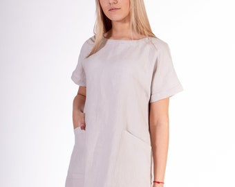 Pure 100% linen dress. Light silver color. Midi dress with front pockets. The top part -  tie closure at the back.