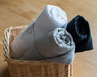 3 LINEN BATH TOWELS White, Black, gray linen towels,  Linen towels for bath