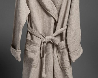 Linen  WOMEN's bathrobe, Grey linen / cotton women's bathrobe, high quality soft linen robe, LinenBuy