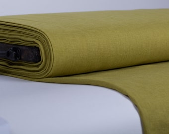 Pure 100% linen fabric 200gsm. Green pear color, enzyme washed. Dense, medium weight for apparel, kitchenware, bedding, etc.