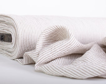Pure 100% Linen Striped Fabric. Off-white Not- dyed Striped Fabric. Medium weight Washed Dense Durable Non-transparent Organic Biologically