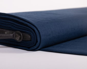 Linen fabric lightweight Dark Blue, Pre-washed pure 100% linen fabric,  Linen fabric for blouses by the yards, Natural Fabric by the meters