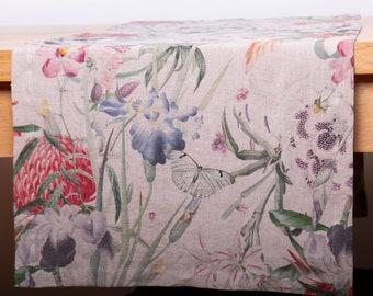 Linen Table Runner Digital Printed ENAMOR, Custom Size Wedding Runner, Handmade Table Runner Washed Soft Mitered Corner, Table Decoration