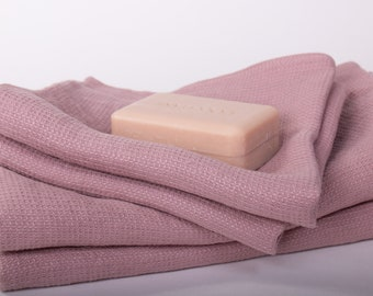 Pure 100% Linen Waffle Pique Bath Towels Dark Old Pink Medium weight Washed Organic Eco friendly