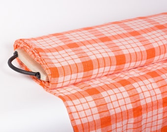 Last piece 2.2 yd / 2 m Pure 100% linen fabric 175gsm orange checked washed and softened. Perfect for kitchen accessories