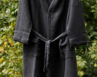 LINEN BATHROBE WOMEN'S Graphite black linen / cotton  bathrobe, high quality soft  robe, LinenBuy