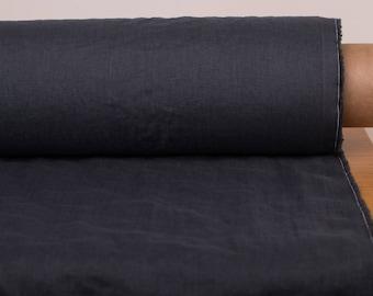 Pure 100% linen fabric  135GSM  lightweight Dark gray Graphite gray washed Linen fabrics by yard