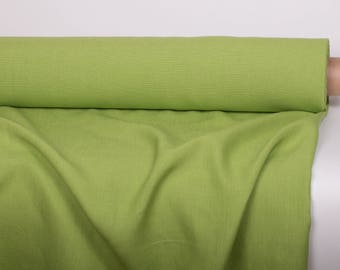 WIDE LINEN FABRIC Heavy weight 300GSM  Width 180 cm Dusty lemon lime color  heavy weight washed linen fabric