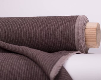 Pure 100% linen fabric 200gsm melange/striped Brown and natural linen fabric by meter washed an softened  Organic Linen Cloth