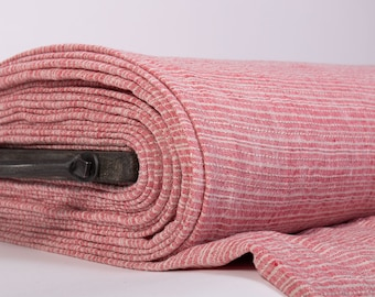 Piece 2.5 m / 2.7 yd Extra Wide 2.35 m / 2.56 yd pure 100% Linen Fabric red and not-dyed medium weight washed softened  for jackets  covers,