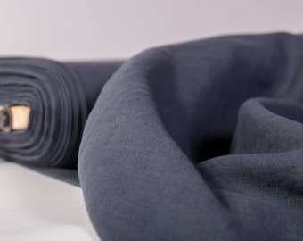 Linen fabric 135gsm  Dark gray Graphite gray lightweight washed pure 100% linen fabrics