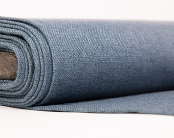 Linen/wool linen fabric Chambray Teal Blue Medium weight, densely, washed-softened.  For clothes, home textiles, accessories